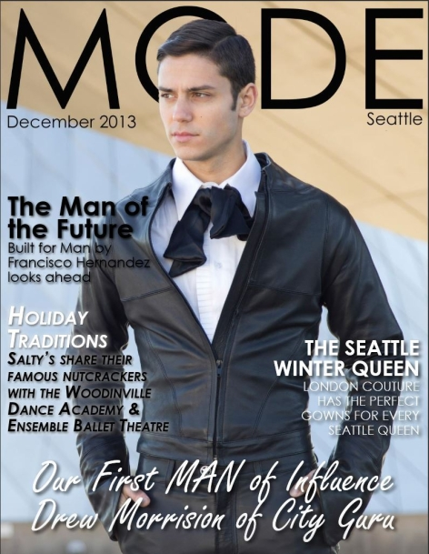 Image: MODE magazine cover. Male model in leather jacket and pants with hands in pocket.
