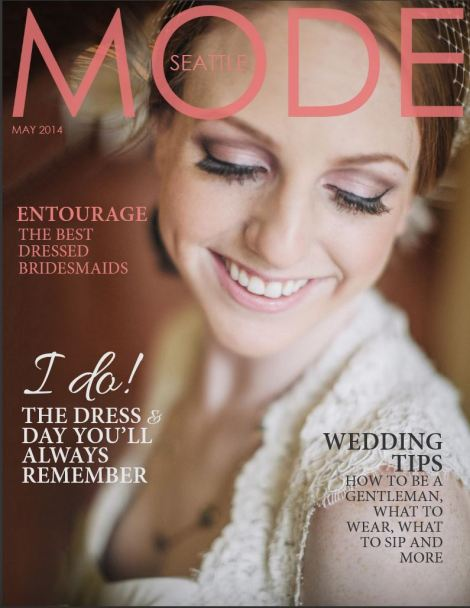 Image: MODE magazine cover. Model in wedding dress smiling.