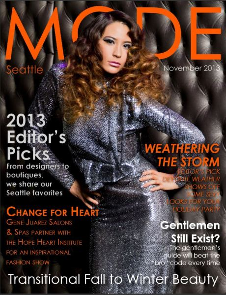 image: MODE magazine cover. Female model looking constipated.